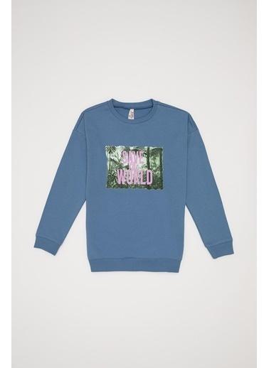 DeFacto Kız Çocuk Baskılı Organik Sweatshirt Mavi